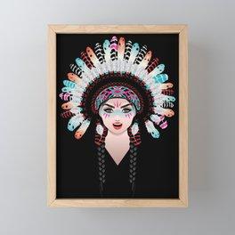 Native american woman wearing war bonnet, tribal portrait design Framed Mini Art Print