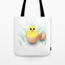 Chicken, chick, peeper, yellow chicken, egg shell, egg, shell, Easter, Easter chicken Tote Bag