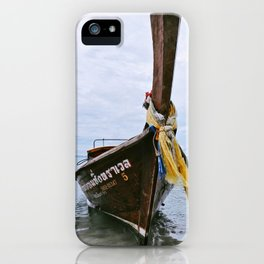 Longtail boat on the shore of Ao Nang, Thailand iPhone Case