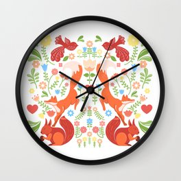 Early Fall Festive Flower Frolic Wall Clock