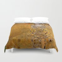 gustav klimt Duvet Covers featuring Adele Bloch-Bauer I by Gustav Klimt by Palazzo Art Gallery