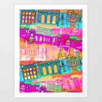 cityscape Art Prints featuring Cityscape by Aimee St Hill