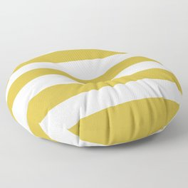 Old gold - solid color - white stripes pattern Floor Pillow