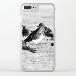 Birds and People relaxing at the beach Clear iPhone Case