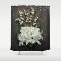 White Flowers on Rustic Table Shower Curtain