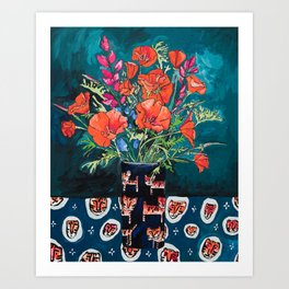 California Poppy and Wildflower Bouquet on Emerald with Tigers Still Life Painting Art Print