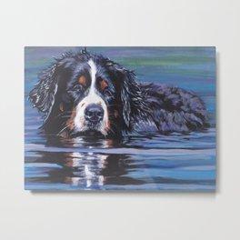 Bernese Mountain Dog art portrait Fine Art Dog Painting by L.A.Shepard Metal Print
