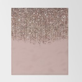 Blush Pink Rose Gold Bronze Cascading Glitter Throw Blanket