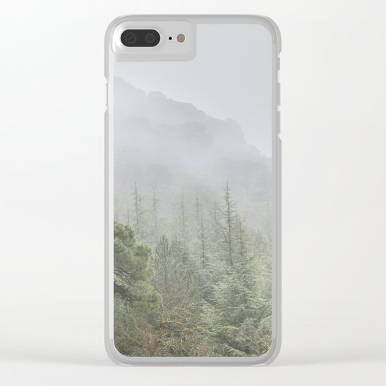 Into the deep forest. Foggy morning Clear iPhone Case