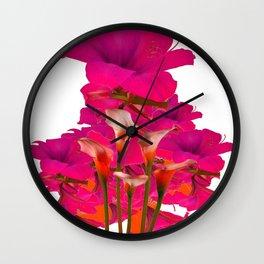 IVORY CALLA LILIES AGAINST FUCHSIA PURPLE FLORALS ART Wall Clock