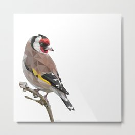 European goldfinch - Low poly digital art Metal Print