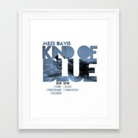 miles davis Framed Art Prints featuring Kind Of Blue - Miles Davis / Album Cover Art LP Poster  by FunnyFaceArt