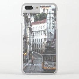 Lisbon Street Tram Clear iPhone Case