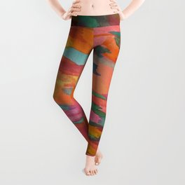 Rainbow Sherbet Abstract Painting Leggings