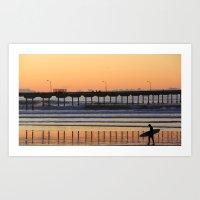 Ocean Beach Pier Lonely Surfer Art Print