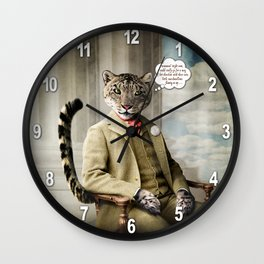 Sir Sebastian Snow Leopard Wall Clock