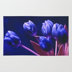 Blue Poetry of Tulips Rug