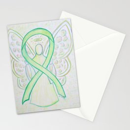 Lime Green Awareness Ribbon Angel Art Painting Stationery Cards