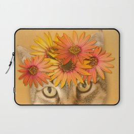 Tabby Cat with Daisy Flower Crown, Mustard Yellow Background Laptop Sleeve