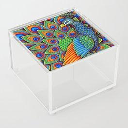 Colorful Paisley Peacock Rainbow Bird Acrylic Box