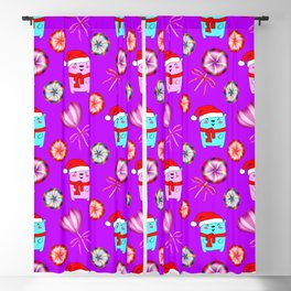 Christmas pattern. Funny baby bears with red Santa hats, colorful cute vintage retro candy lollipops Blackout Curtain