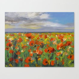 Poppy Field with Storm Clouds Canvas Print