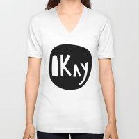 okay V-neck T-shirts featuring Okay by ParthKothekar
