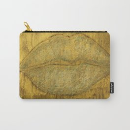Gold glitter lips-salon art-sparkle-wall art-painting-black and gold-girly stuff-abstract Carry-All Pouch