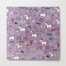 Purple Unicorns & Sweet Daydreams, Little Girls Decor, Bright, Sweets Metal Print
