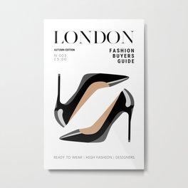 London Travel Fashion Magazine Cover Design with Shoe Fashion Illustration Metal Print