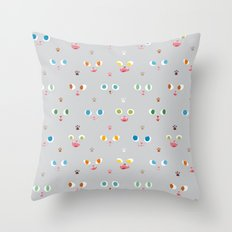 Cat Faces Throw Pillow