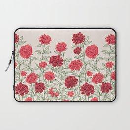 Red Floral Peonies Pattern Laptop Sleeve