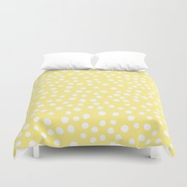 Pastel yellow and white doodle dots Duvet Cover