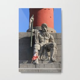 Figure of a man with a paddle sitting at the foot of the Rostral column. A little girl jumps over he Metal Print