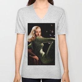 Classic Veronica Lake Portrait in Green - Jeanpaul Ferro Unisex V-Neck