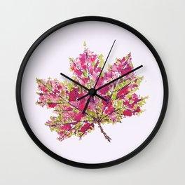 Pretty Colorful Watercolor Autumn Leaf Wall Clock