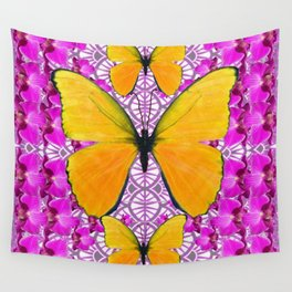 FUCHSIA COLORED  ORCHIDS &  YELLOW  BUTTERFLY FLORAL Wall Tapestry