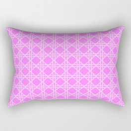 Cane Rattan Lattice in Hot Pink Rectangular Pillow