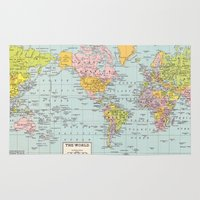 map of the world Area & Throw Rugs featuring World Map by Catherine Holcombe