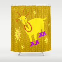 goat Shower Curtains featuring Golden Goat by Vitta