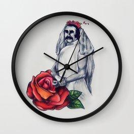 biker in a wedding dress Wall Clock