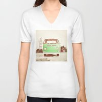 volkswagon V-neck T-shirts featuring Vintage Volkswagen Bus (Green Edition) by Laura Ruth