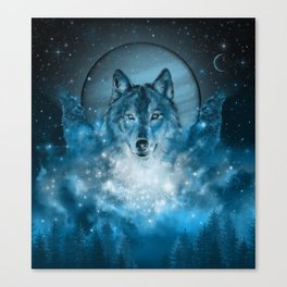 wolf in blue Canvas Print