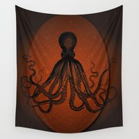 squid Wall Tapestries featuring giant squid by mimulux