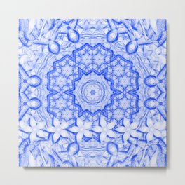 abstract blue mandala with flowers Metal Print