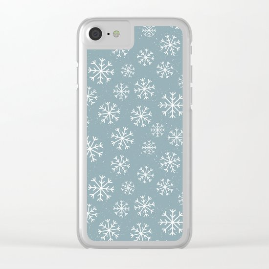 Merry Christmas Wintertime - Snowflakes pattern Clear iPhone Case