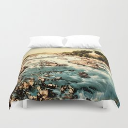 Vintage Rocky Waterfall. Creek Landscape Photo Duvet Cover