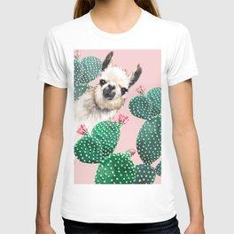Llama and Cactus Pink T-shirt