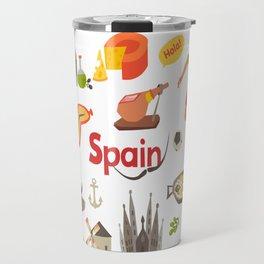 Spain traditional symbols set. Travel tourist element.Traditional spainish corrida, flamenco, guitar Travel Mug