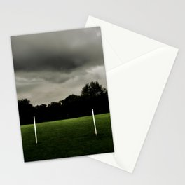 Football goalposts in an empty field Stationery Cards